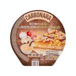 Pizza carbonara rellena de salsa de setas Hacendado ultracongelada Mercadona