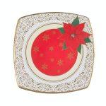 Plato de cartón decoración poinsettia Navidad Bosque Verde Mercadona