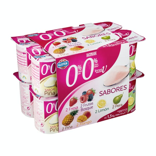 Yogur sabores Hacendado 0% materia grasa 0% sin azúcares añadidos Mercadona